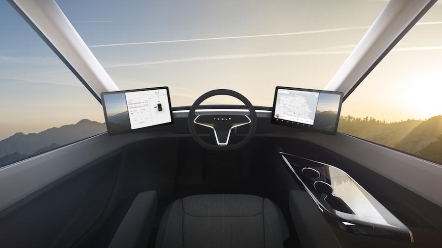Interior do caminhão Semi, da Tesla