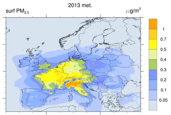 Mapa das emissões europeis de NOx