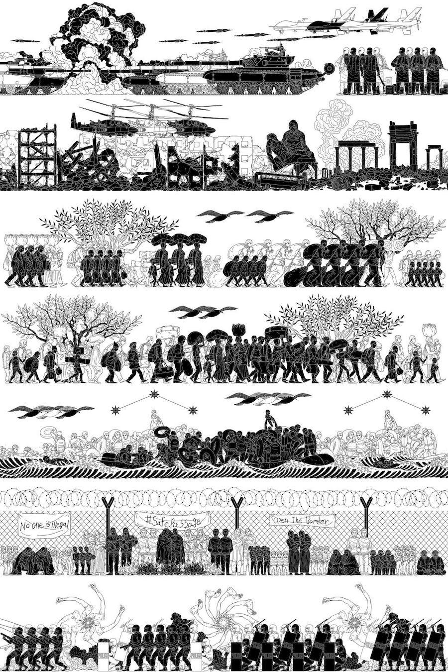 Refugiados em estilo greco-romano, por Weiwei