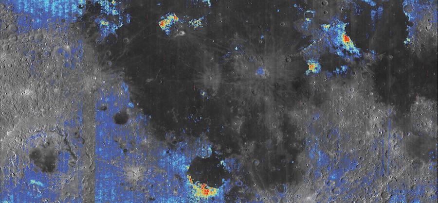 Imagem da água na Lua