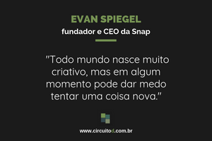 Frase de Evan Spiegel, da Snap, sobre criatividade