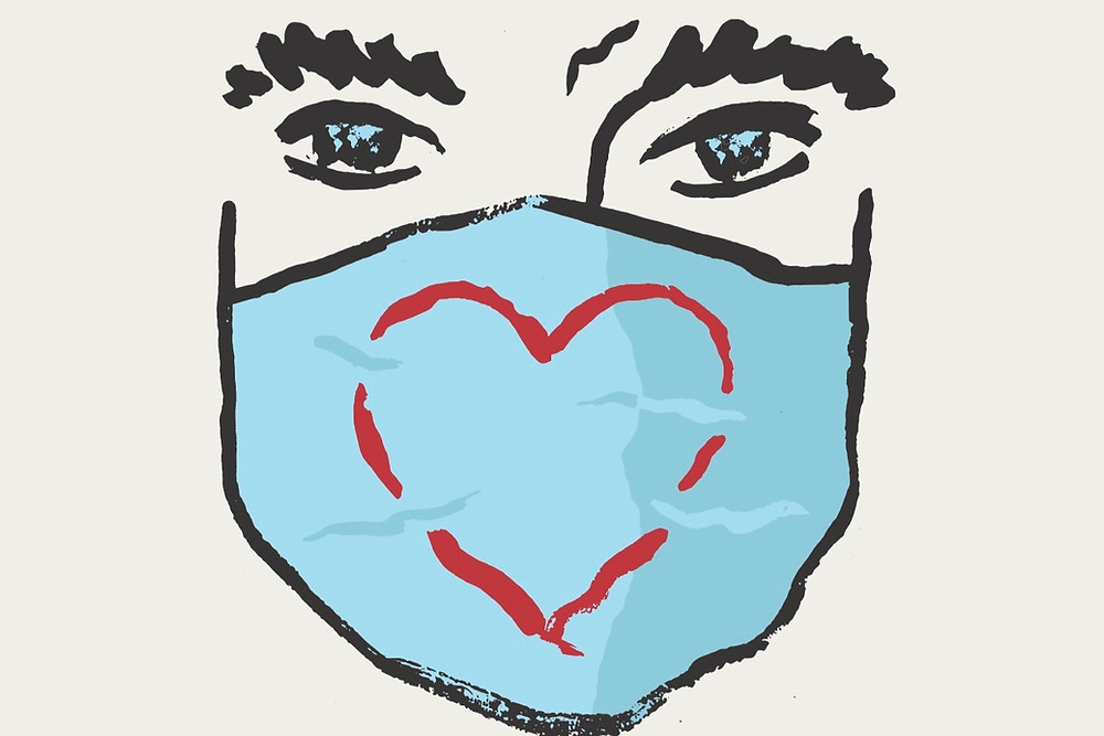 Ilustração de máscara com símbolo de coração