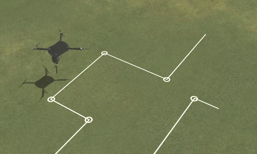 Drone segue trajeto de plantio