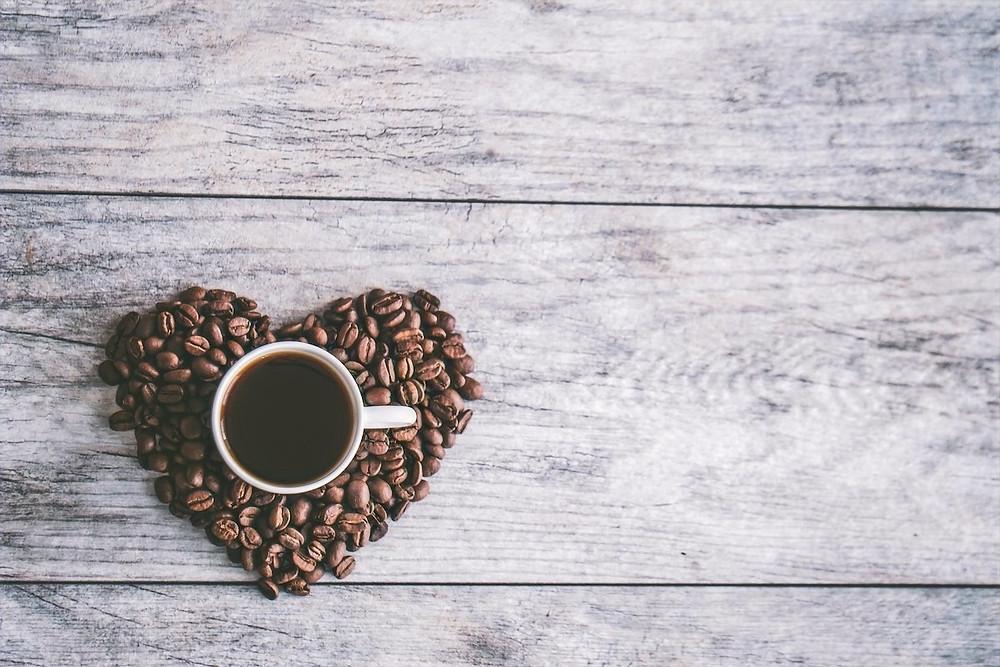 Xícara de café com coração
