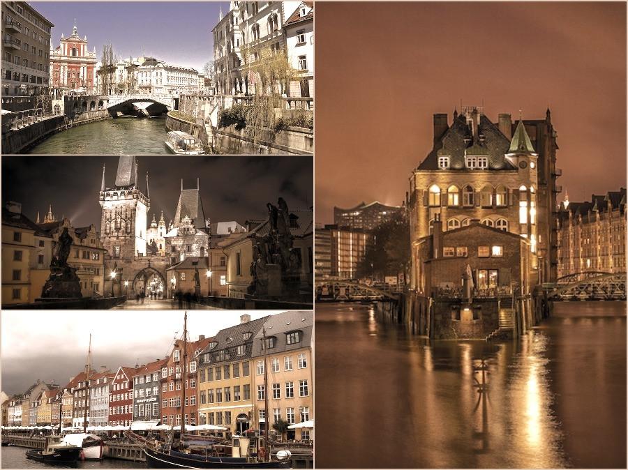 Colagem de cidades europeias