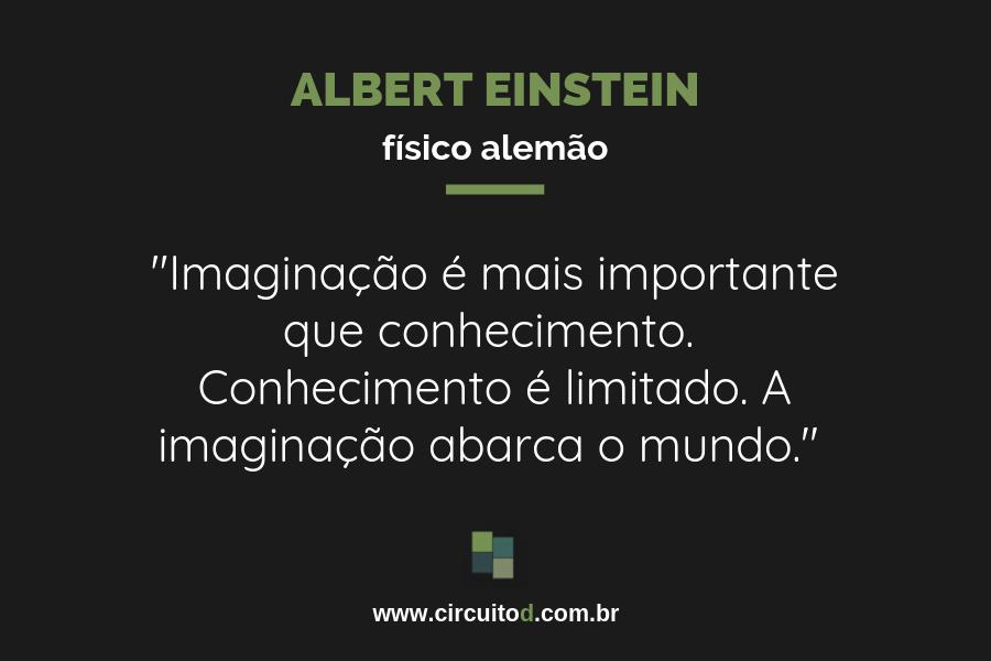Frase de Albert Einstein sobre imaginação e conhecimento