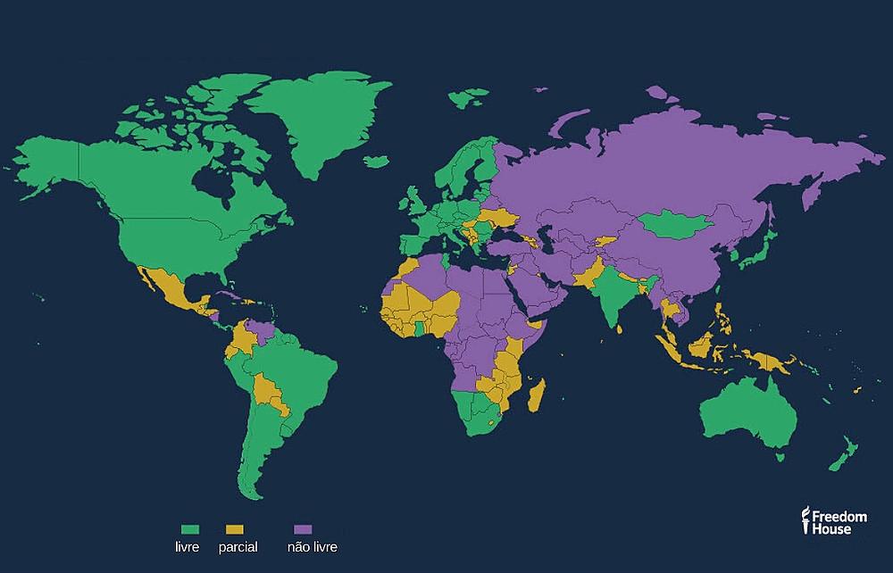 Mapa da liberdade nos países