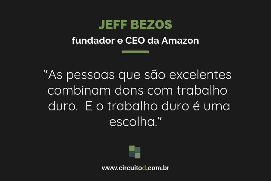 Frase de Jeff Bezos sobre talento e trabalho duro