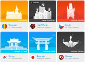 Opções de línguas do Duolingo
