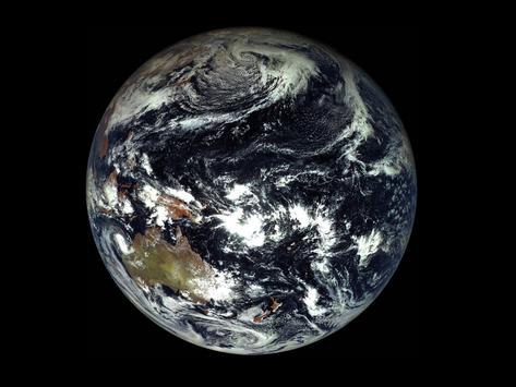A Terra, vista com o filtro de um satélite russo