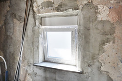 Fenster beigeputzt