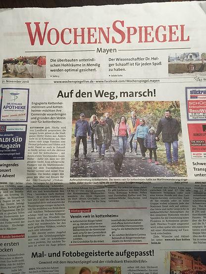 Wochespiegel Aktionen Verein wir für kottenheim Kottenheim