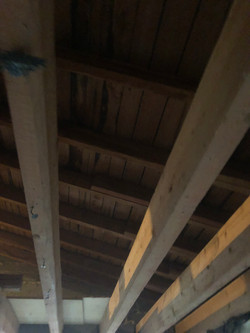 Blick zum Dachstuhl von unten