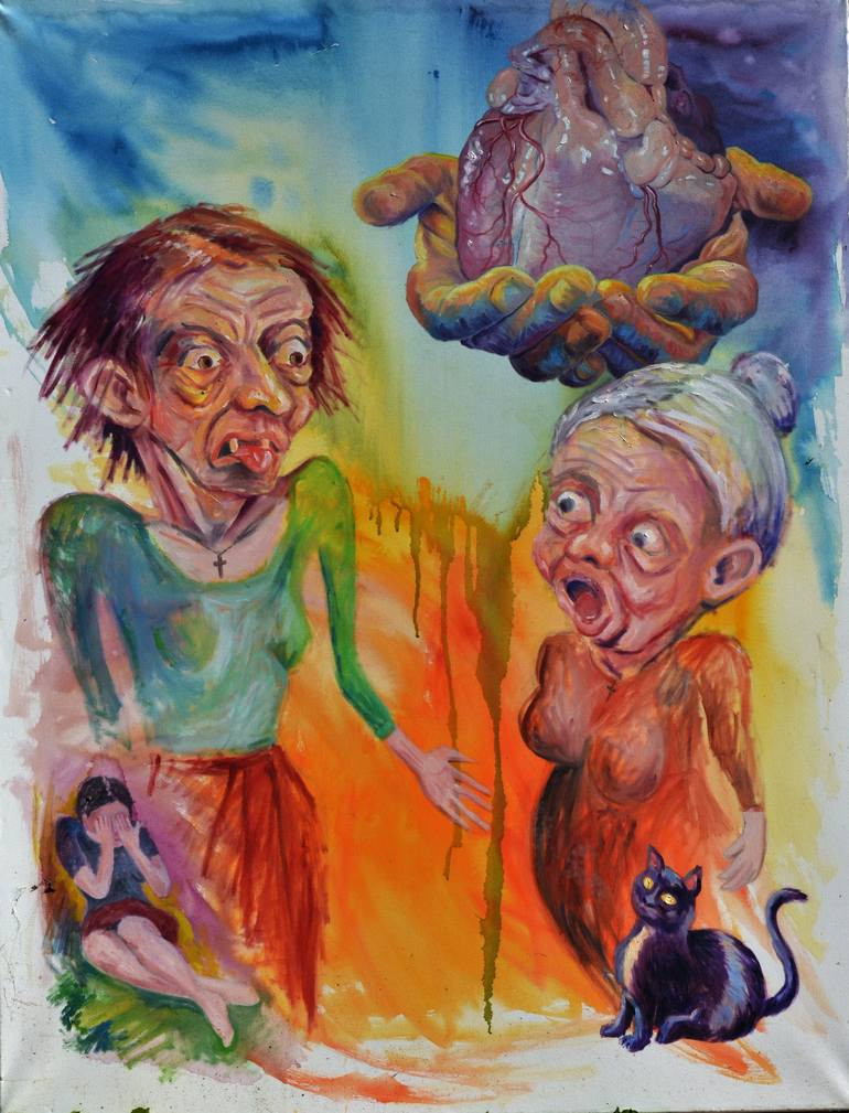 """Gossip"" του Stanislaw Jaworek-Czerkiz, Ακρυλλικό σε μαλακό καμβά"
