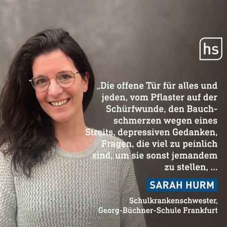 Unsere Schulkrankenschwester Sarah Hurm in der Hessenschau