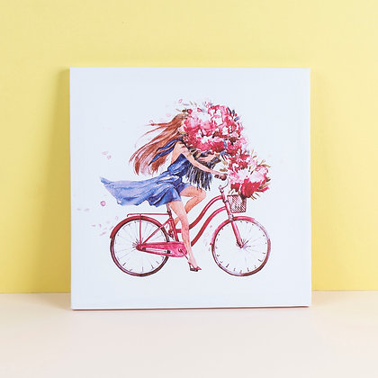 Tranh Canvas Girl Flower Bycicle