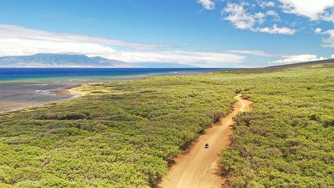 drone aerial over lanai island in Hawaii
