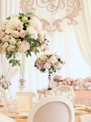 Wedding banquet decoration in tender col