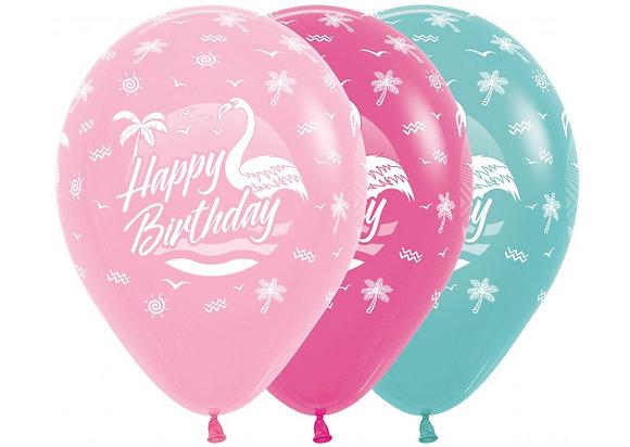 Happy Birthday ballonnen flamingo - 30 cm - 25 stuks