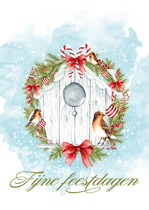 Kerstkaart Fijne Feestdagen - watercolor bird house (10x15cm)