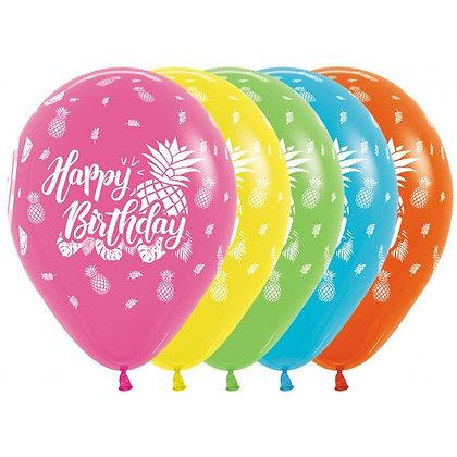 Happy Birthday ballonnen tropical - 30 cm - set 25 stuks