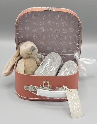 Cadeauset - koffertje BamBam met mini konijntjesknuffel en sokjes