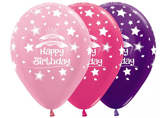 Happy Birthday ballonnen birthday cake / verjaardagstaart 30 cm - set 25 stuks