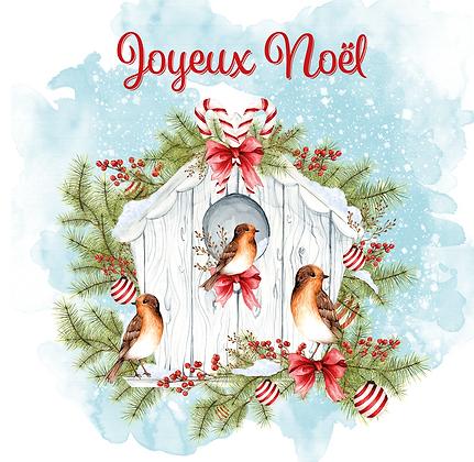 """Carte de Voeux """"Joyeux Noël"""" et enveloppe"""