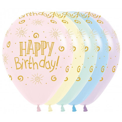 Happy Birthday ballonnen pastel - 30 cm - set 25 stuks