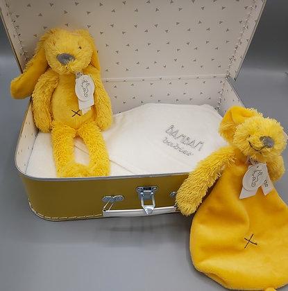 Cadeauset - koffertje geel - Happy horse knuffel en knuffeldoekje