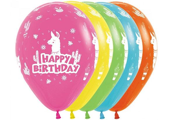 Happy Birthday ballonnen lama - 30 cm - set 25 stuks