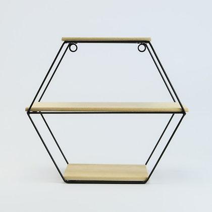 Metalen rek zeshoek met 3 houten leggers 30x12,5x28 cm