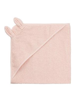 Baby badcape met oortjes 70x70cm roze