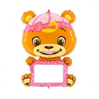 Folieballon girl bear personaliseerbaar - 114cm
