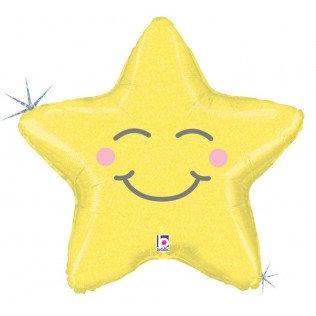 Folieballon chubby star geel - 66 cm