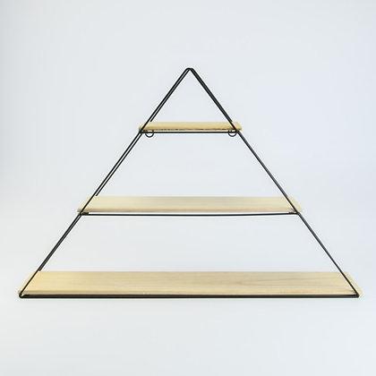 Metalen Rek Driehoek Met 3 Houten Leggers 60,5x12,5x40,5 Cm