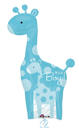 Anagram - Folieballon - It's a boy - giraf blauw - 107 cm