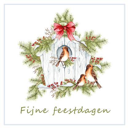 Kerstkaart Fijne Feestdagen Groen (10 stuks)
