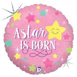 Folieballon A star is born - meisje - 46 cm