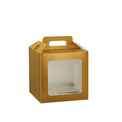 Cadeaudoosje met venster - goud - 21X21X21CM