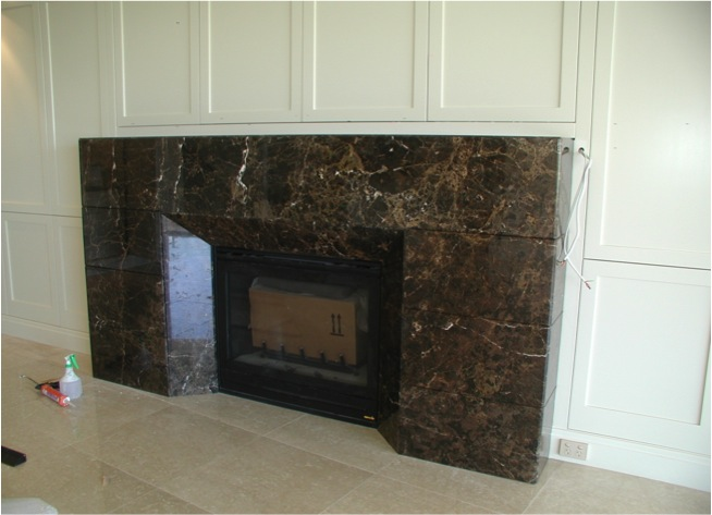 Fireplace ,concealed TV  and cabinet