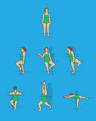 water aerobics exercise women overweigh line art illustration