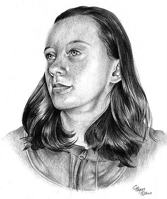 Pencil drawing of a young girl