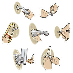replacing a shower head technical how-to illustration