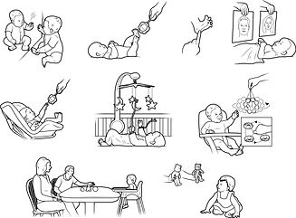 Experiments with babies how-to illustrations