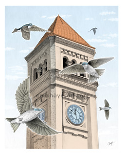 Clock Tower with Swallows