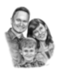 Sparley family pencil portrait