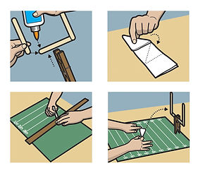 Making a paper football game for kids how-to illustration