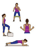 women's exercises fitness illustration