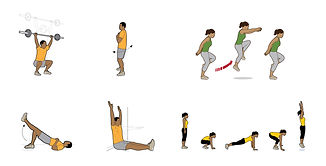 fit body squats bounding burpees core exercise illustrations